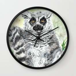 Ring-Tailed Lemur - cute animal, nature, lemur, eyeroll, zero given, not impressed, animals Wall Clock