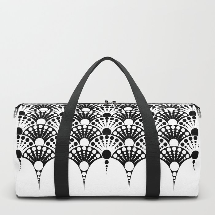black and white art deco inspired fan pattern Duffle Bag