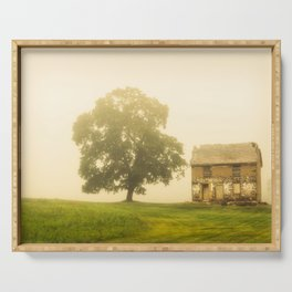 Farmhouse Landscape Photo Abandoned Dilapidated House in Foggy Field Serving Tray