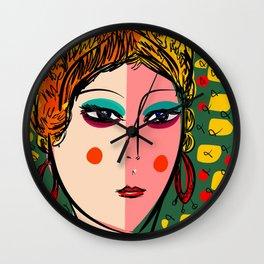 Green Portrait French Girl Art Wall Clock