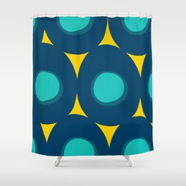 Abstract Minimal Pattern Blue and Yellow Shower Curtain