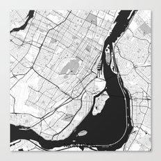 Montreal Map Gray Canvas Print