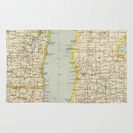 Vintage Map of Lake Michigan (1883) Rug