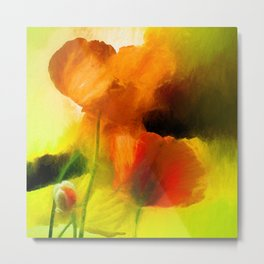 Poppies on green Metal Print