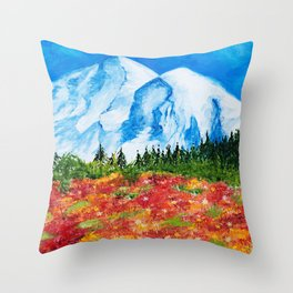 Mt. Rainier Meadows Throw Pillow