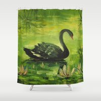 black swan Shower Curtains featuring Black Swan by OLHADARCHUK