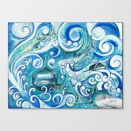 Shark wave Canvas Print