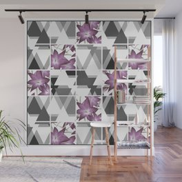 Pink lilies on grey triangles . Wall Mural