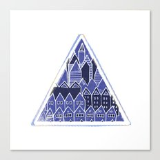 Triangle Houses in Blue Canvas Print