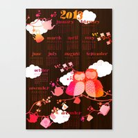 calender Canvas Prints featuring Calender Owls 2013 by Elisandra
