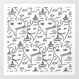 Face, Fish, Boat, Sea, And Smoke Art Print