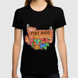 Awesome The Tiki Bar Is Open Gift Print Hawaiian Island  Product T-shirt