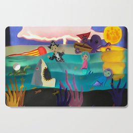 Little Pirate Shipwrecked in Mermaid Land Paper Art Cutting Board
