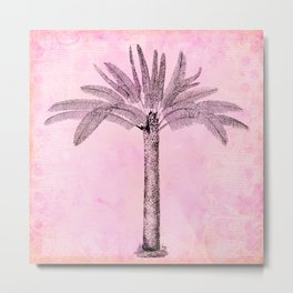 Pink Retro Palmtree Metal Print