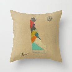 delaware state map Throw Pillow