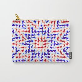 Houndstooth Red White and Blue Psychedelic Star Pattern Carry-All Pouch