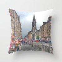 edinburgh Throw Pillows featuring Edinburgh by Christine Workman
