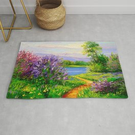 Lilac bloom on the river Rug
