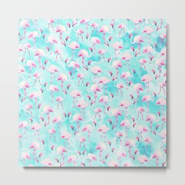 Modern hand painted teal watercolor pink flamingo Metal Print