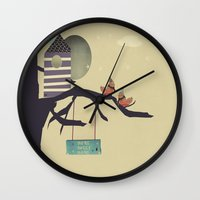 home sweet home Wall Clocks featuring home sweet home by bri.buckley
