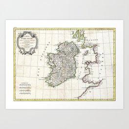 Map of Ireland - Bonne - 1771 Art Print