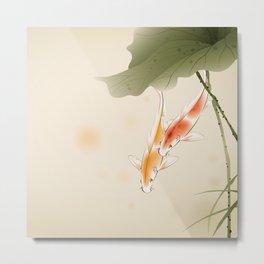 Koi fishes in lotus pond Metal Print