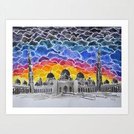 Sheikh Zayed Grand Mosque, Abu Dhabi, UAE Art Print