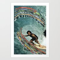 surfing Art Prints featuring Surfing by Ben Giles