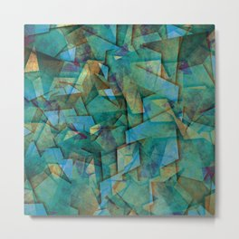Fragments In blue - Abstract, fragmented art in blue Metal Print