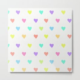 Cute Pastel Rainbow Hearts Pattern Metal Print