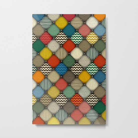 buttoned patches retro Metal Print