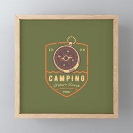 Compass Camping Framed Mini Art Print