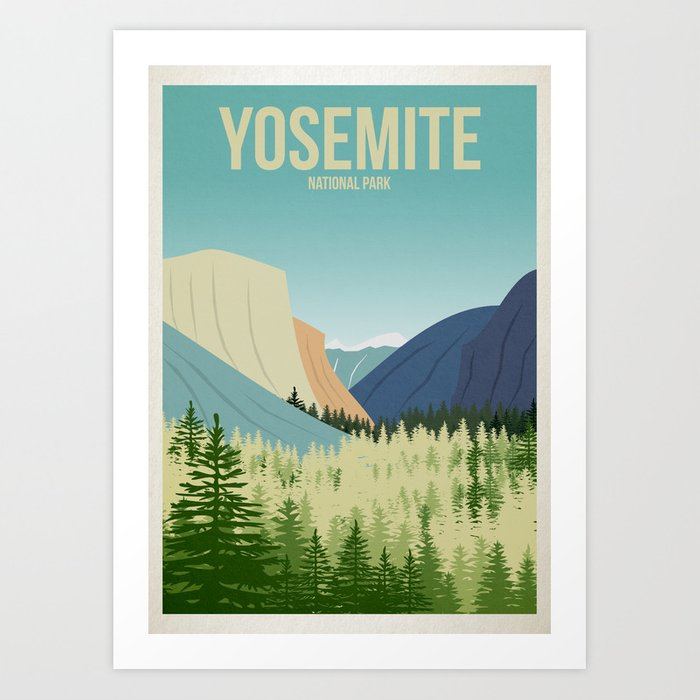 Yosemite National Park - Travel Poster -  Minimalist Art Print Kunstdrucke
