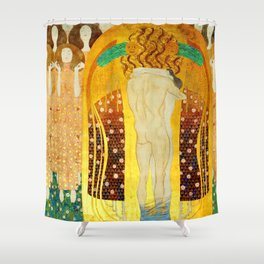 """Gustav Klimt """"The Beethoven Frieze - The quest for happiness"""" Shower Curtain"""