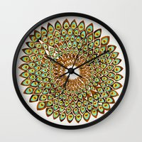 70s Wall Clocks featuring Peacock Mandala – 70s Palette by Cat Coquillette