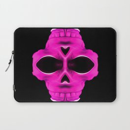 pink psychedelic skull portrait with black background Laptop Sleeve
