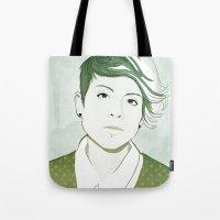 tegan and sara Tote Bags featuring Tegan by GirlApe