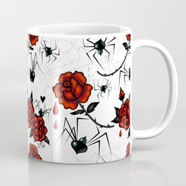 Black Widow Spider with Red Rose Coffee Mug