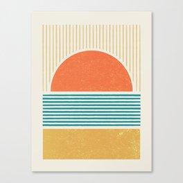 Sun Beach Stripes - Mid Century Modern Abstract Canvas Print