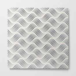 Dark Navy Blue Wavy Tessellation Line Pattern on Alabaster White - Aquarium SW 6767 Metal Print