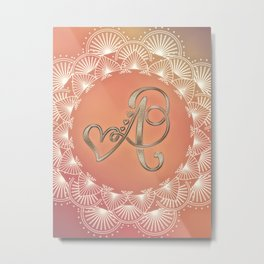 Autumn Monogram A Metal Print