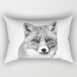 Black and White Fox Rectangular Pillow