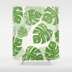 Linocut Monstera Leaf Pattern Shower Curtain