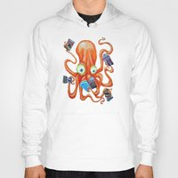 comic book Hoodies featuring Comic Book Octopus by Bili Kribbs