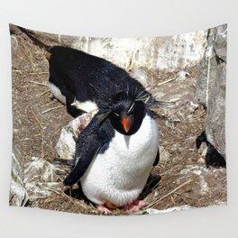 Rockhopper Penguin Sitting on Egg Wall Tapestry