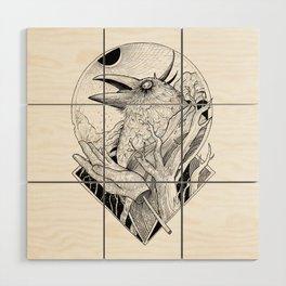 Crow b/w Wood Wall Art