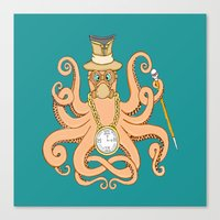 steam punk Canvas Prints featuring Steam Punk Octopus by J&C Creations