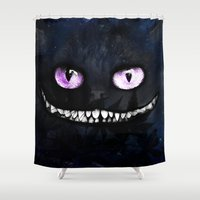 cheshire cat Shower Curtains featuring CHESHIRE by Julien Kaltnecker