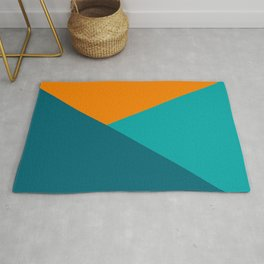 Jag - Minimalist Angled Geometric Color Block in Orange, Teal, and Turquoise Rug