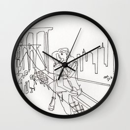 Sloppy Bridge Kiss - LINE DRAWING Wall Clock